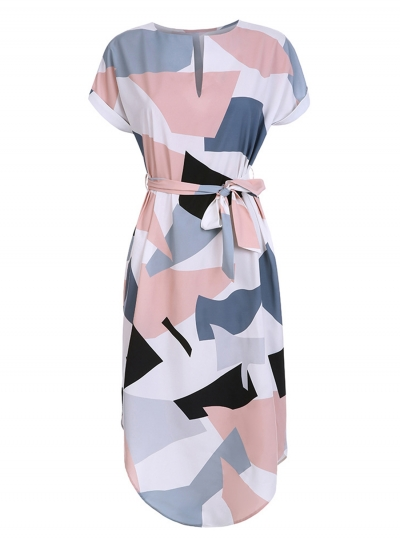 Women's V Neck Short Sleeve Square Print Midi Dress