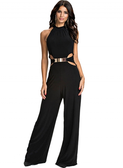Women's Fashion Halter Sleeveless off Shoulder Wide Leg Jumpsuit