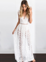 Women's V Neck High Waist Lace Maxi Dress