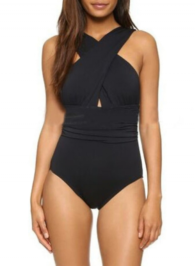 Women's Fashion Front Cross One-piece Padding Swimsuit