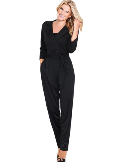 Women's Solid 3/4 Sleeve Notch Lapel Jumpsuit with Pocket