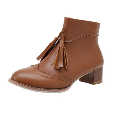 Women's Vintage Solid Block Heels Boots with Tassel