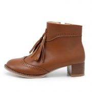 Women's Vintage Solid Block Heels Boots with Tassel