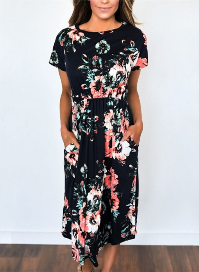 Women's Short Sleeve Floral Midi Dress