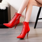 Women's Solid Pointed Toe Lace up Stiletto Heels Boots