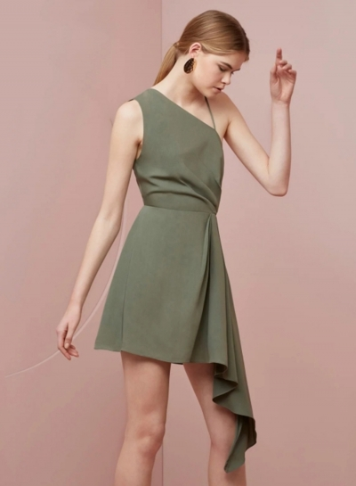 Women's One Shoulder Backless Irregular Dress