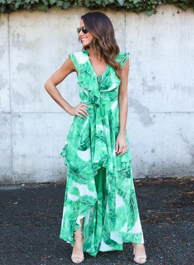 7f5b56774380 Women s Sleeveless Ruffle Green Leaf Irregular Maxi Dress stylesimo.com
