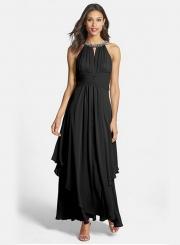 Women's Elegant Halter Sleeveless Maxi Chiffon Pleated Dress