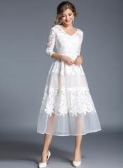 Women s Floral Mesh V Neck 3 4 Sleeve A-line Midi Dress - STYLESIMO.com b1f8d598f