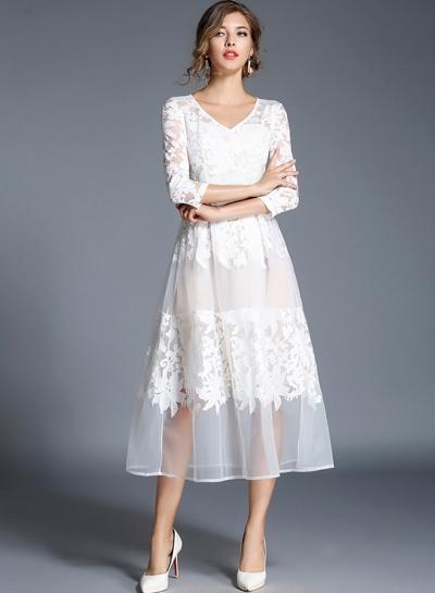 Women s Floral Mesh V Neck 3 4 Sleeve A-line Midi Dress - STYLESIMO.com 57f43824c