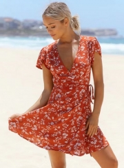 Women's Floral Print V Neck High Waist Chiffon A-line Dress