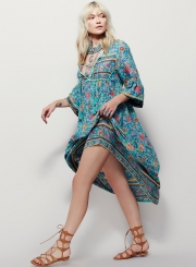 Women's Fashion Floral Long Sleeve Loose Fit Maxi Dress