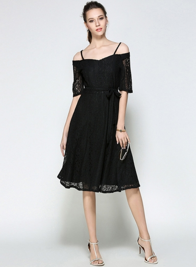 Women's Fashion off Shoulder Short Sleeve Lace A-line Dress