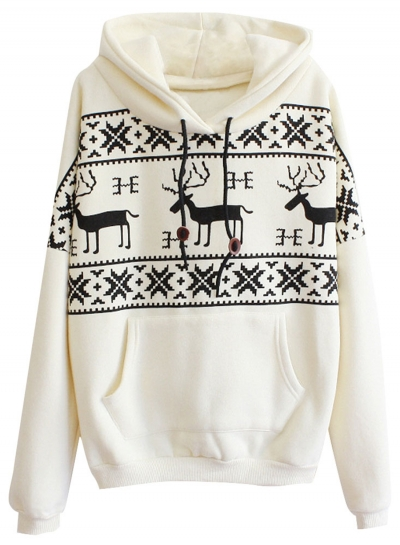 Women's Christmas Deer Kangaroo Pocket Pullover Hoodie