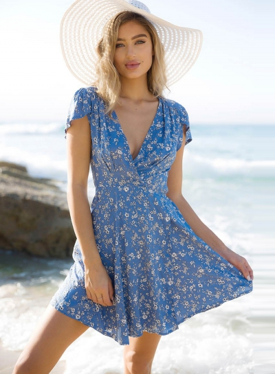 Floral Printed V Neck Short Sleeve A-line Mini Dress