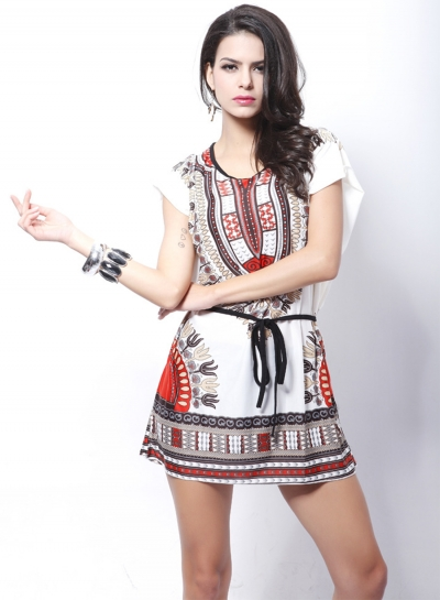 Women's Casual Batwing Sleeve Tribal Print Mini Dress with Belt