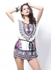 Women's Casual Batwing Sleeve Tribal Print Mini Dress with Belt