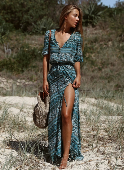 Women's Boho V Neck 3/4 Sleeve Slit Maxi Beach Dress