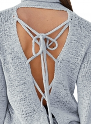 Women's Solid High Neck Back Lace-up Knit Sweater