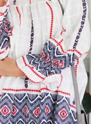 Women's Off Shonlder Long Sleeve Floral Printed Loose Blouses