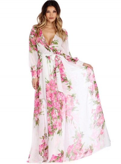 Women's Fashion Floral V Neck Long Sleeve Tie Waist Maxi Dress