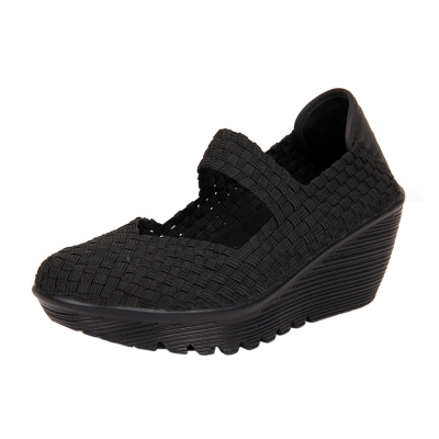 Women's Round Toe Wedge Heels Breathable Hand-woven Shoes
