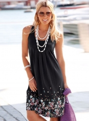 Women's Fashion Sleeveless Floral Printed Loose Pleated Dress