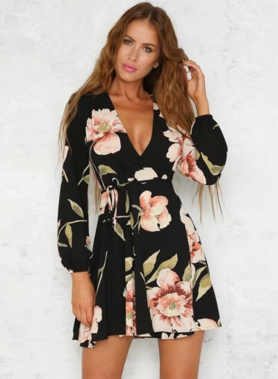 Women's V Neck Long Sleeve Floral A-line Dress