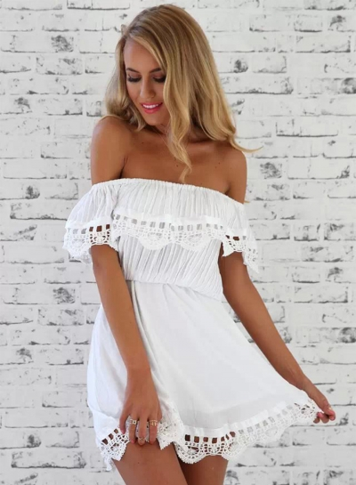 Women's Fashion Solid Lace off Shoulder Ruffle Mini Dress