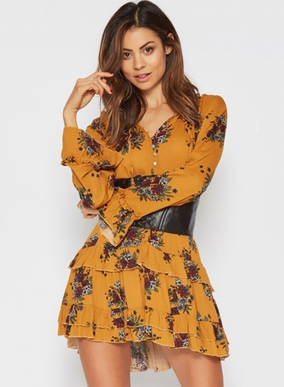 Women'sFashion  Floral V Neck Long Sleeve Ruffle Mini Dress