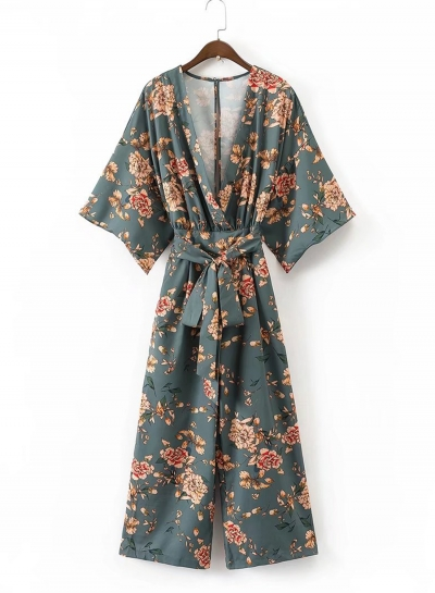 Women's Japan Style V Neck Print Jumpsuit with Belt