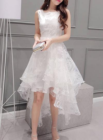 Women's Elegant Solid Sleeveless High Low Organza Dress