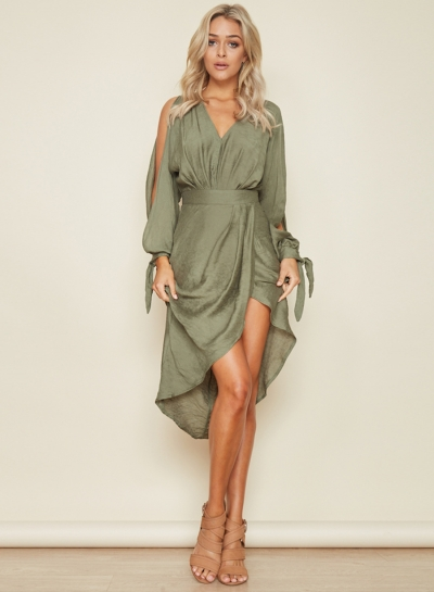 Women's Solid V Neck Long Sleeve High Waist Irregular Midi Dress