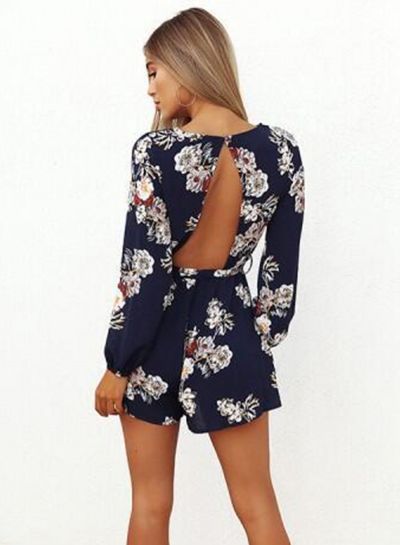 c8394552c92 Women s Fashion Floral Backless Long Sleeve Romper with Belt - STYLESIMO.com