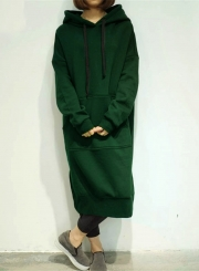Women's Solid Loose Fit Long Hoodie with Pocket