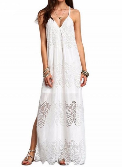 Women's Spaghetti Strap V Neck Sleeveless Lace Maxi Beach Dress