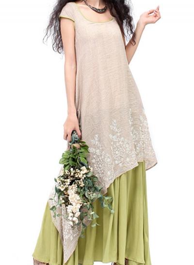 Women's Fashion Cap Sleeve Floral Embroidery Maxi Linen Dress