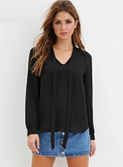 Women's Fashion Tie Collar Long Sleeve Solid Pullover Blouse