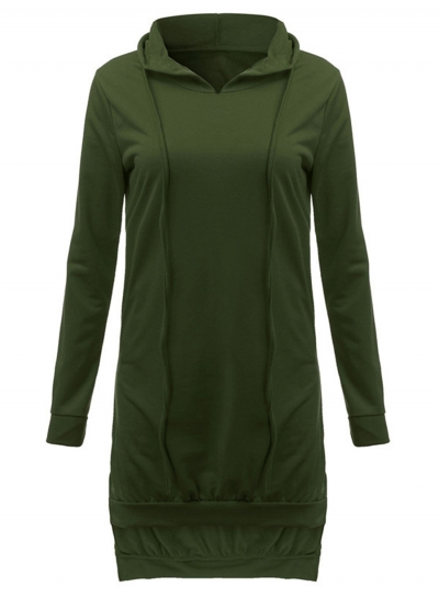 c7c2da3d5ee Women's Fashion Solid Long Sleeve High Low Hoodie