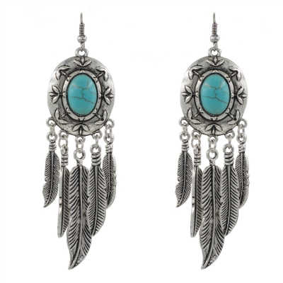 Women's Vintage Bohemian Feather Fringe Turquoise Stone Earrings