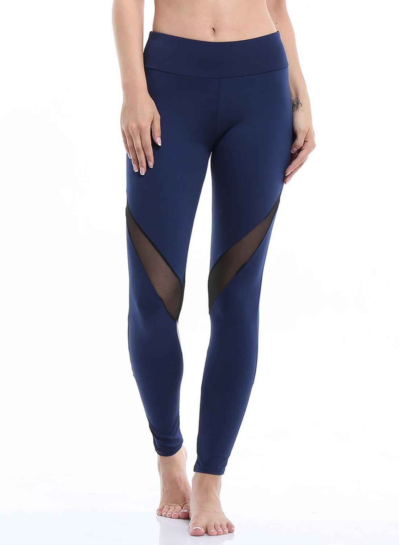 e1c65a25ea Women's Fashion High Waist Mesh Panel Skinny Sports Leggings STYLESIMO.com.  Loading zoom