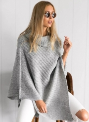 Women's Casual Asymmetric High Neck Solid Pullover Sweaters