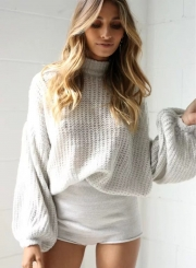 Women's Casual Round Neck Long Sleeve Solid Pullover Sweaters