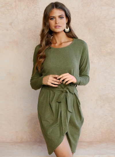Women's Solid Long Sleeve Round Neck Slim Dress