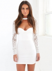 Women's Fashion Long Sleeve Lace Cut out Bodycon Dress