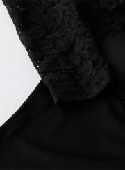 Women's Fashion Long Sleeve Lace Cut out Bodycon Dress