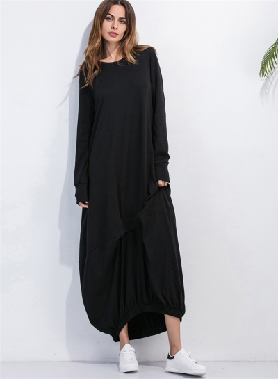 bc980a4a461b34 Women's Long Sleeve Loose Fit Solid Maxi Dress - STYLESIMO.com