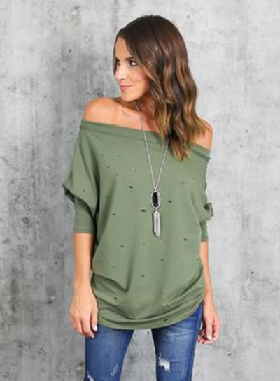 690a51a37a5 Women's Fashion off Shoulder Long Sleeve Ripped Loose Fit Tee stylesimo.com