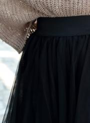 6e28e27c8725e0 Women's High Waist Irregular Layered Midi Mesh Skirt - STYLESIMO.com