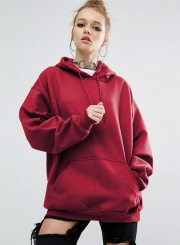 Women's Solid Loose Fit Kangaroo Pocket Pullover Hoodie